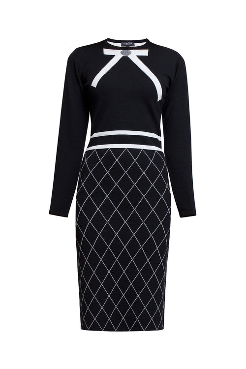 Bow jacquard knitted dress in Black