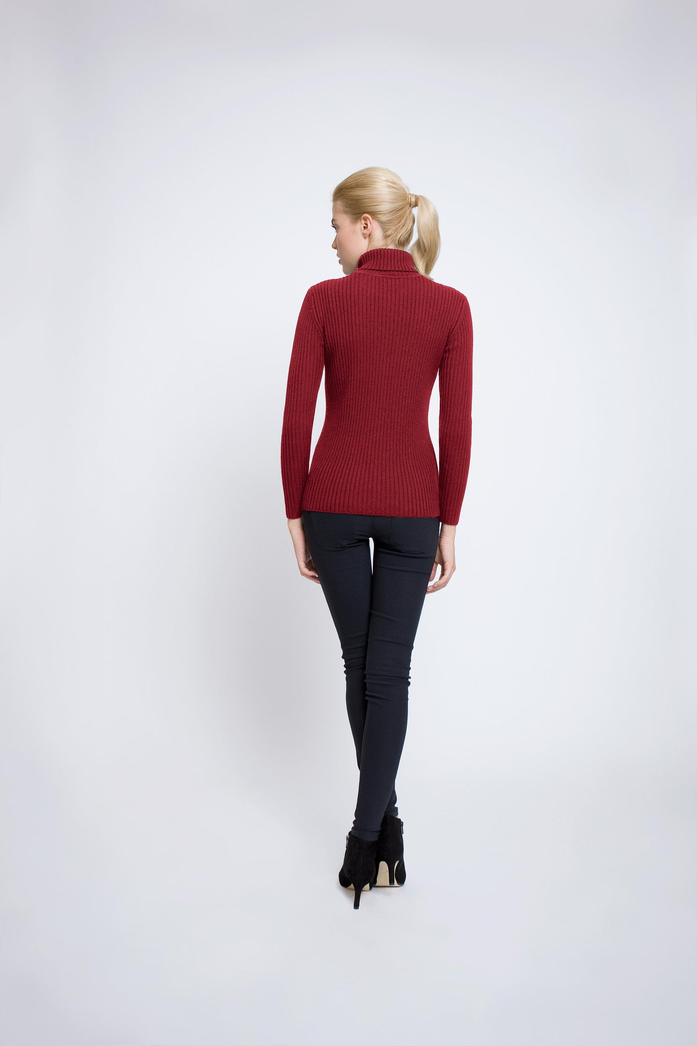 Red ribbed-knit roll neck sweater