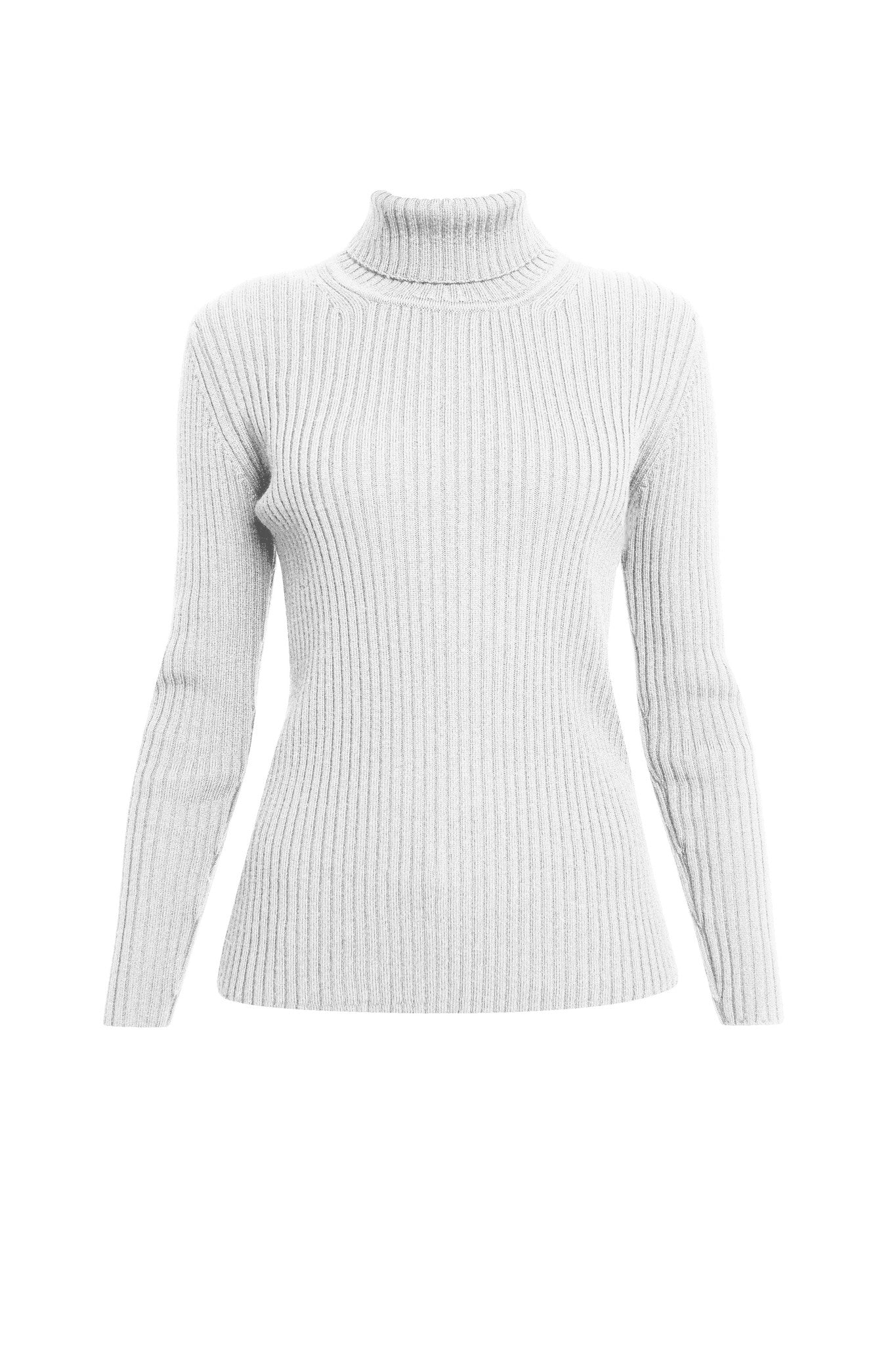 White ribbed-knit turtleneck sweater