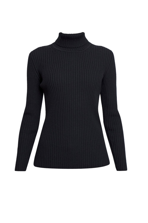 Ribbed-knit roll neck sweater