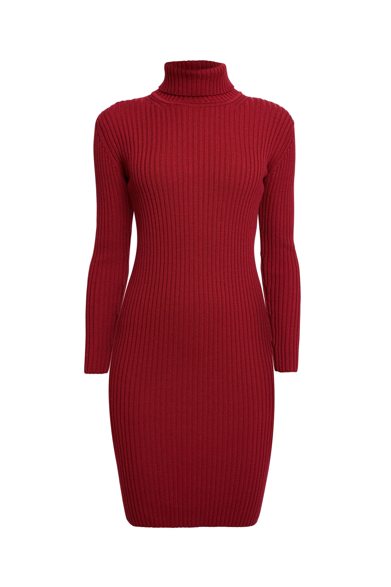 Red ribbed knit turtle neck dress