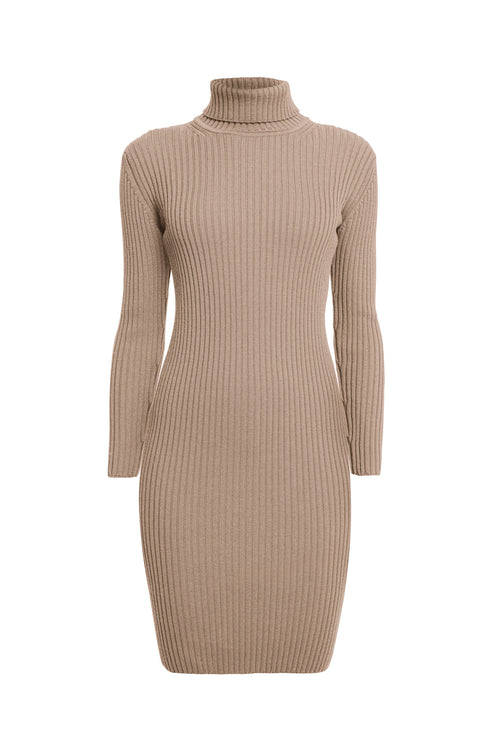 Oatmeal ribbed knit roll neck dress