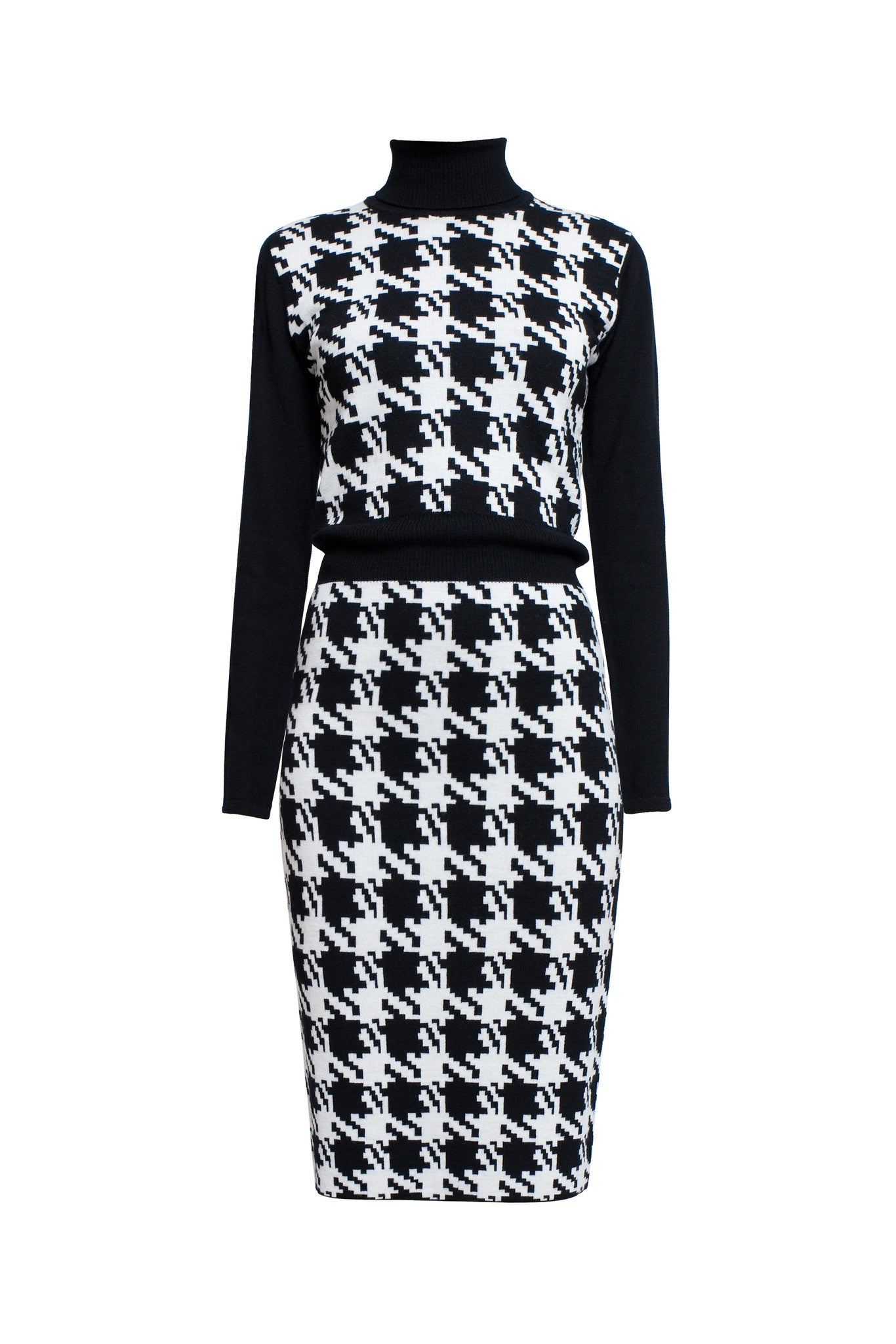Houndstooth merino wool kntted dress