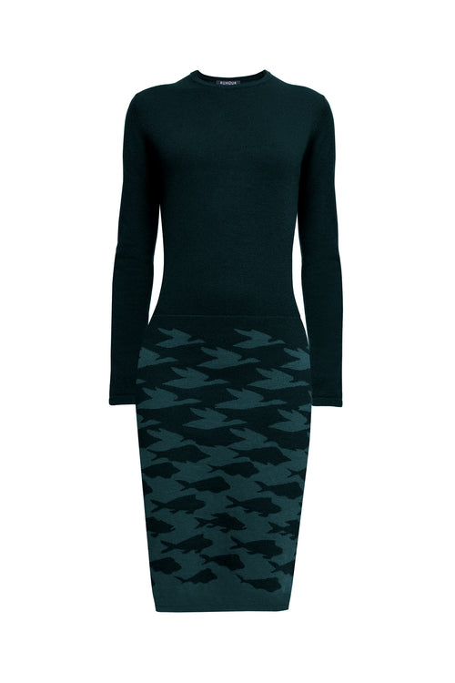 Two-tone forest green jacquard knitted dress