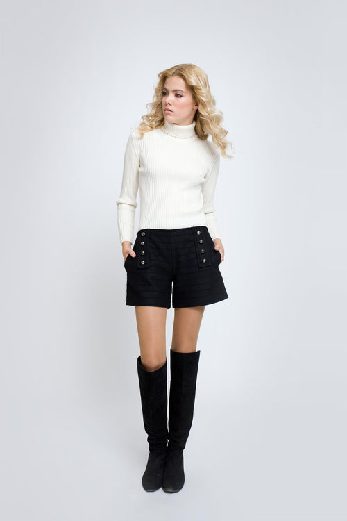 Wool and cashmere shorts