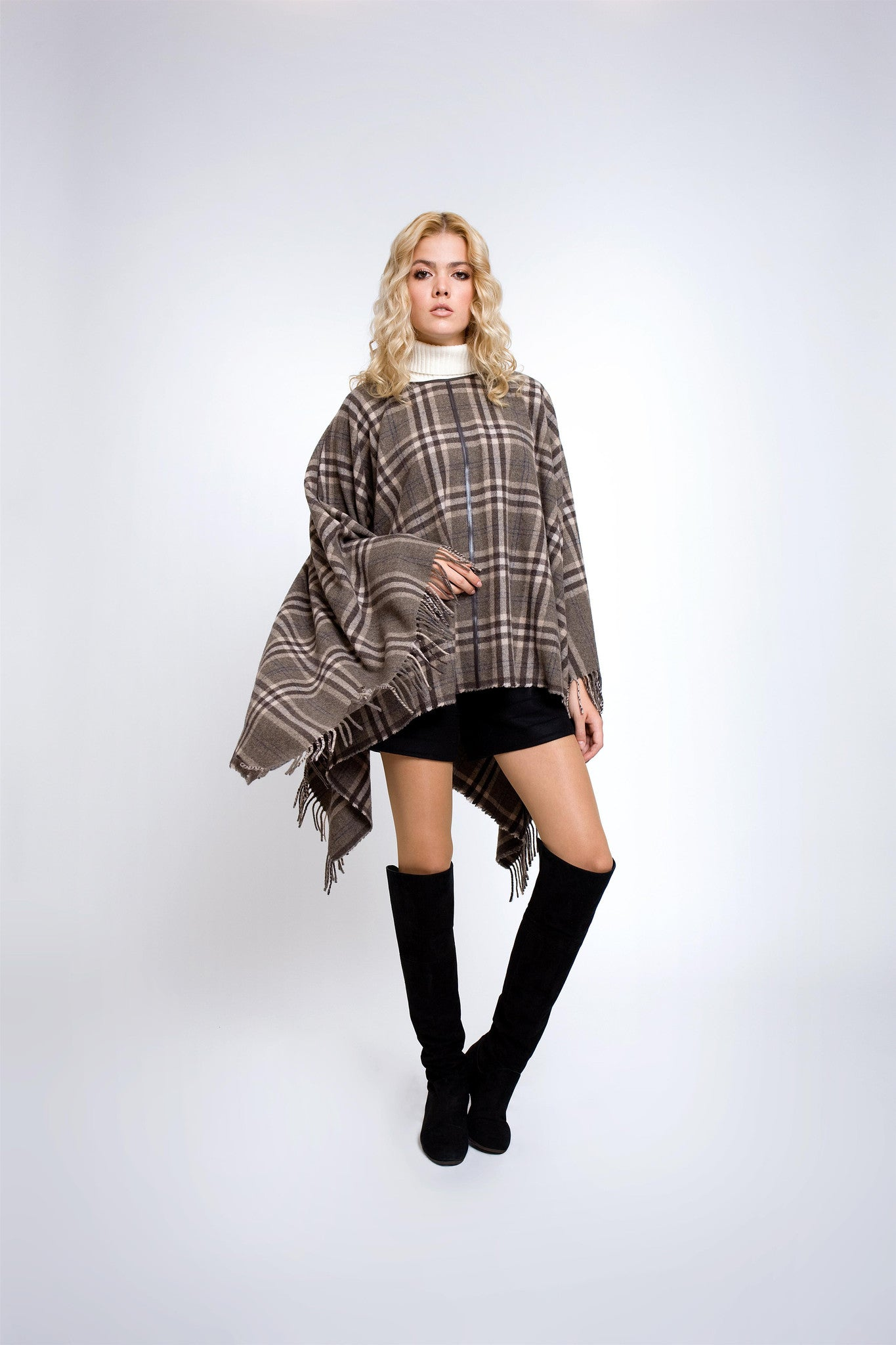 Check wool-blend cape