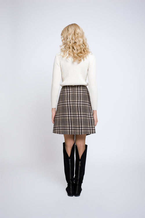 Checked wool-blend mini skirt