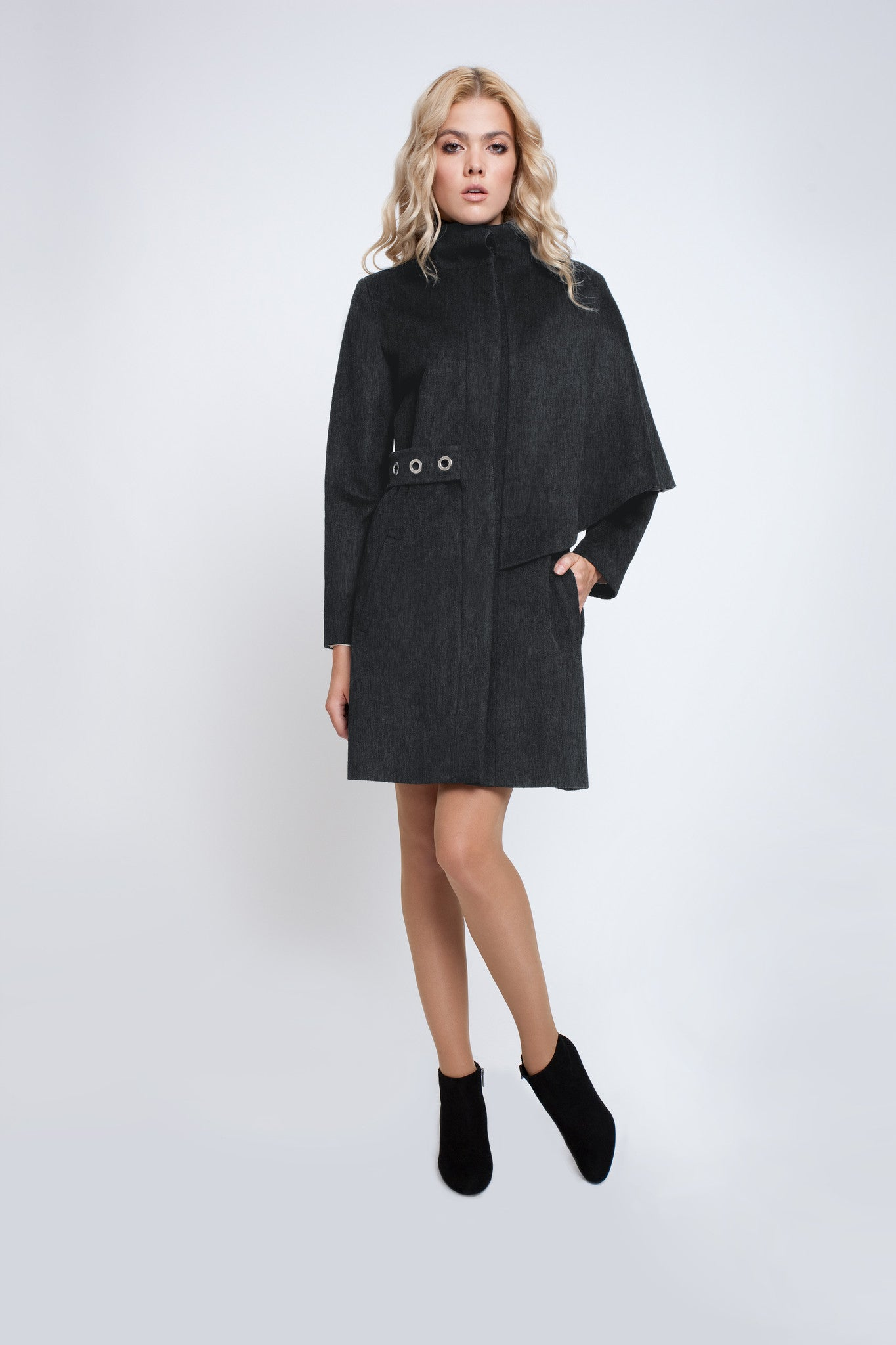 Asymmetric wool-blend cape coat in charcoal grey