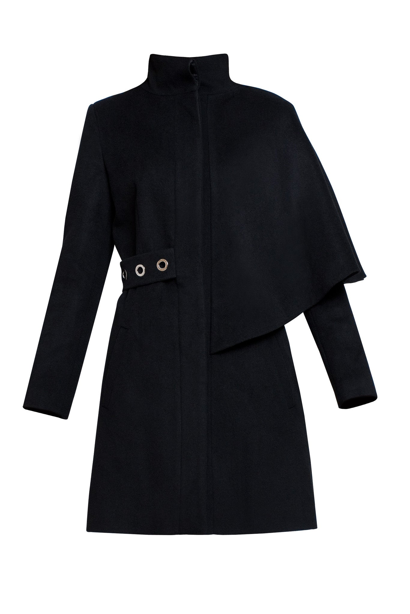Asymmetric wool and angora coat
