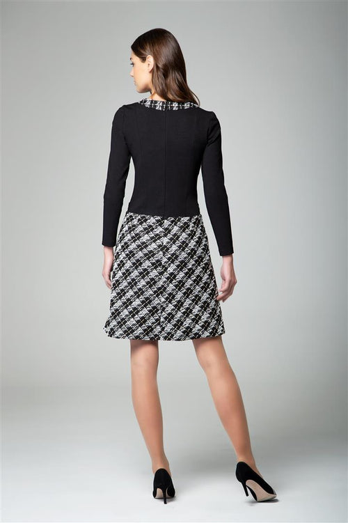 Jersey Dress With Checked Tweed Skirt