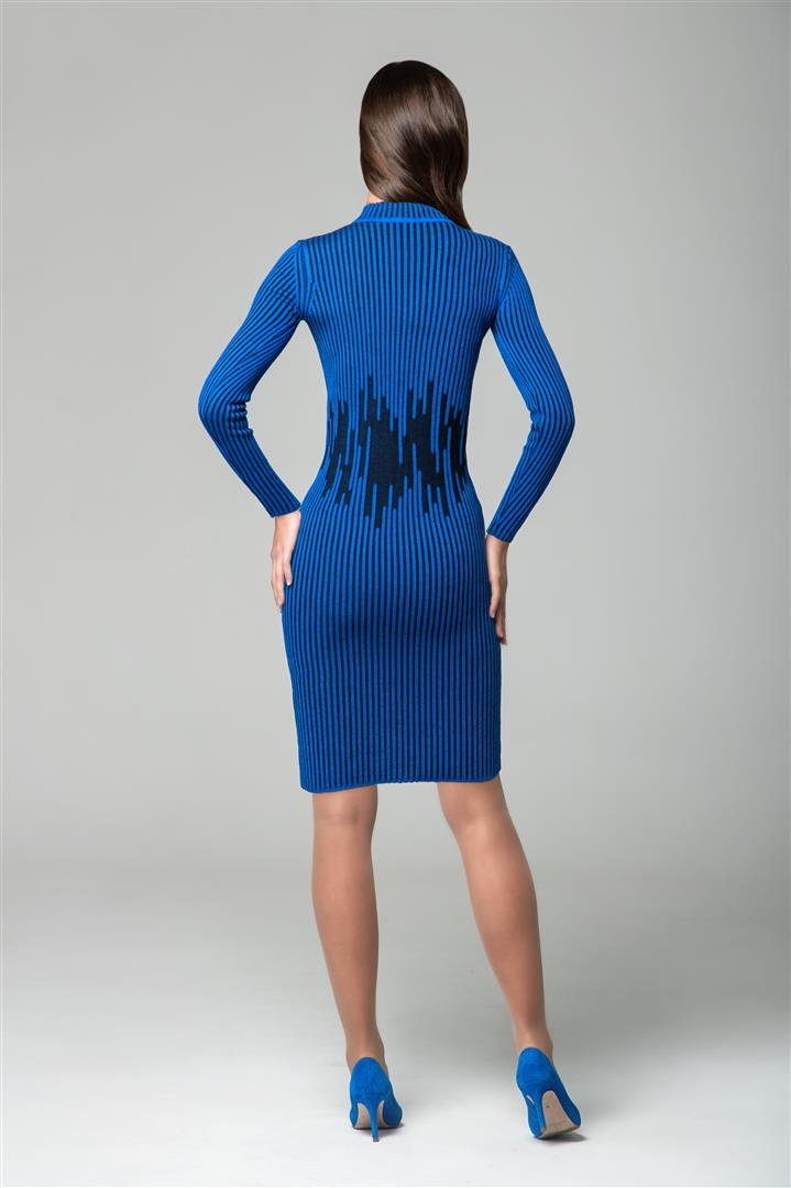 Blue two-tone ribbed knit dress with waist defining detail