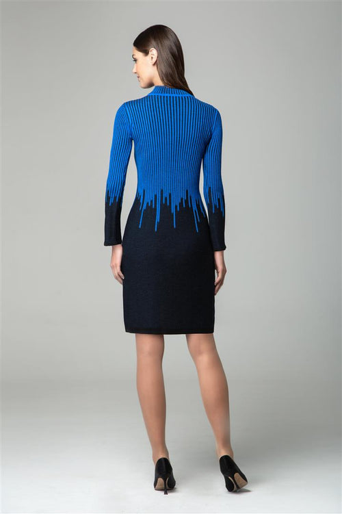 Blue two-tone ribbed knit dress with rain drop effect and bell sleeves
