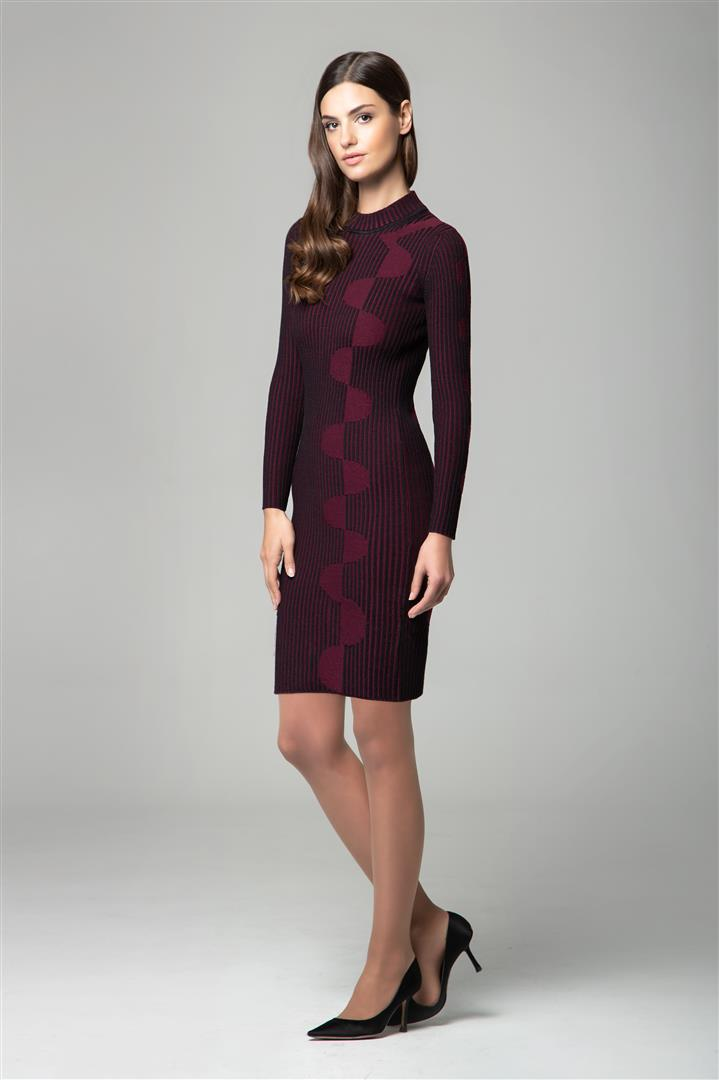 Red two-tone ribbed knit dress with graphic detail