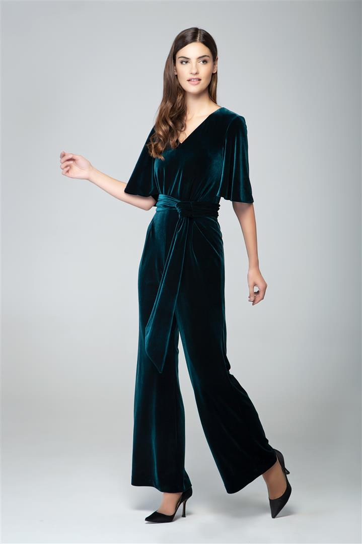 09b515bea474b Velvet jumpsuit with bell sleeves and sash in emerald green – RUMOUR LONDON