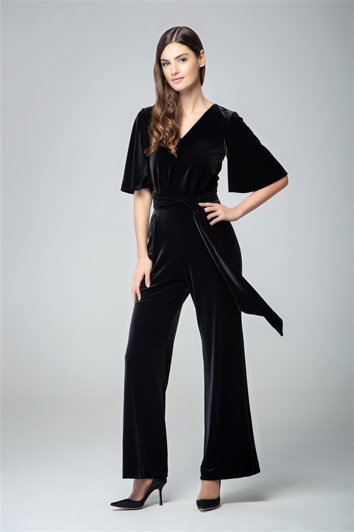 Velvet jumpsuit with bell sleeves and sash in black