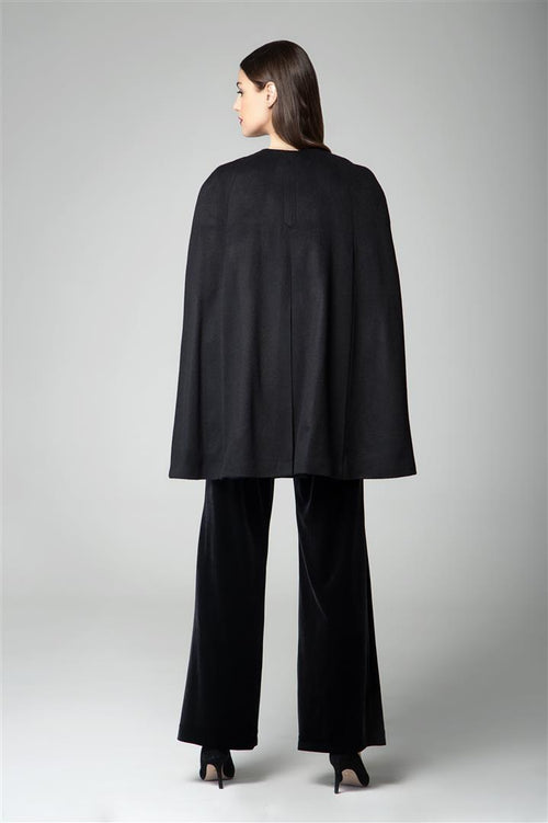Wool and cashmere-blend cape coat in black