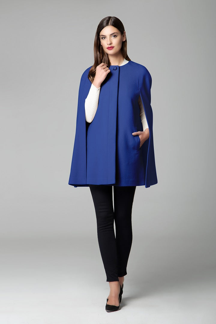 Wool and cashmere-blend cape coat in royal blue
