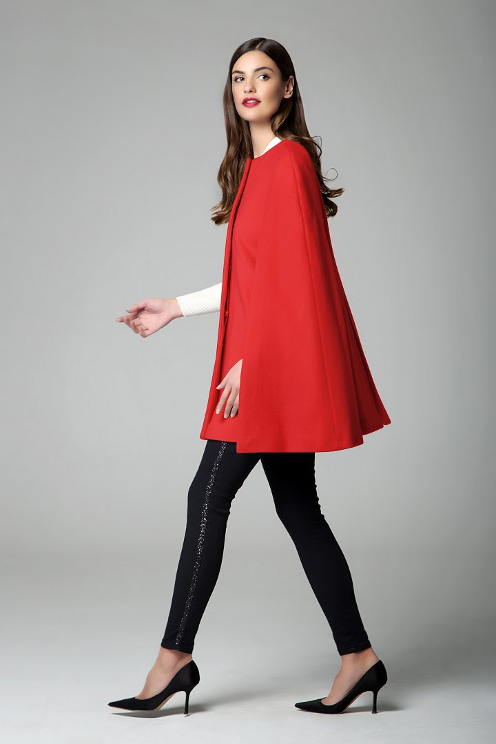 Wool and cashmere-blend cape coat in red