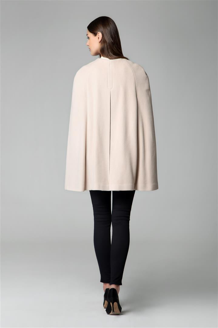 Wool and cashmere-blend cape coat in cream