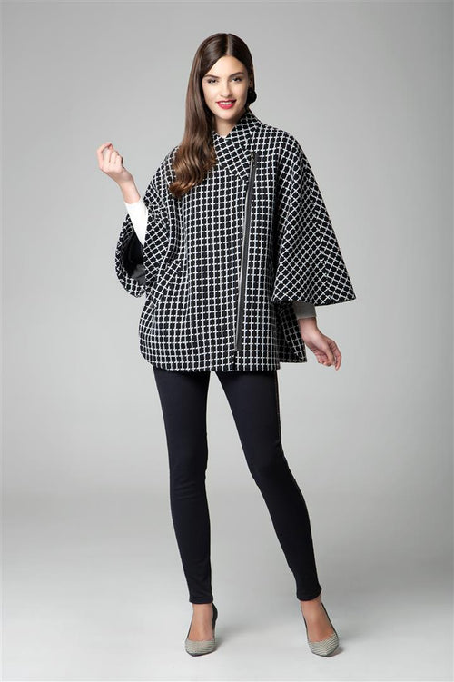 Wool-blend check cape coat with asymmetrical zip