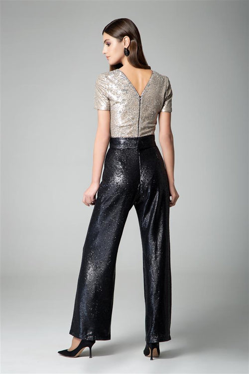 Black and gold sequin jumpsuit with v-shaped back