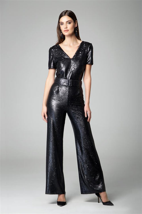 Black sequin jumpsuit with v-shaped back