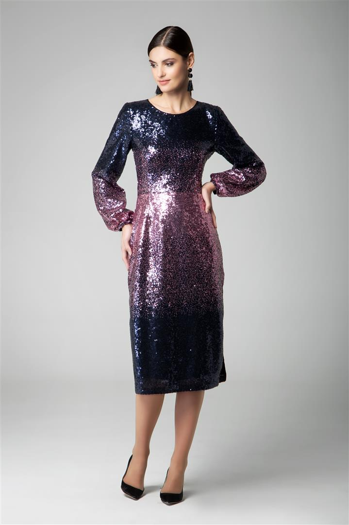 Midi sequin ombré dress with side slits