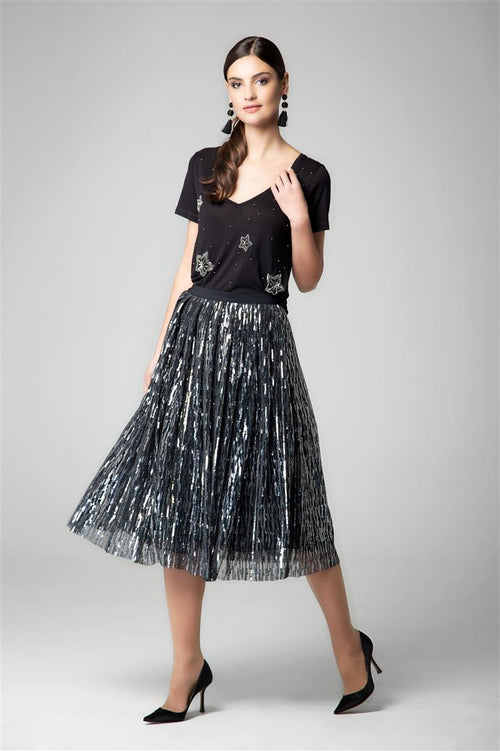 Midi sequin skirt in silver