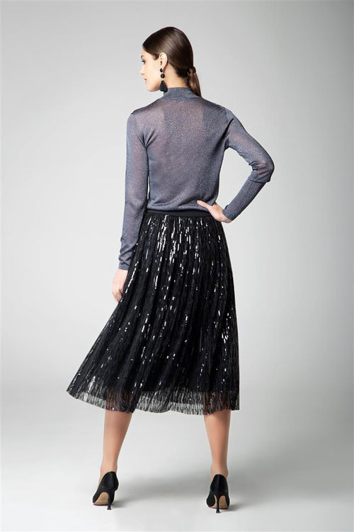 Midi sequin skirt in black