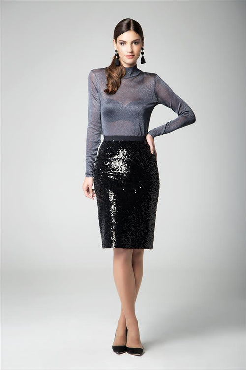 Sequined velvet pencil skirt