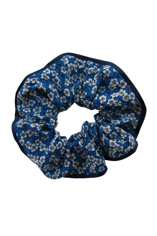 Silk scrunchie with small florals in navy