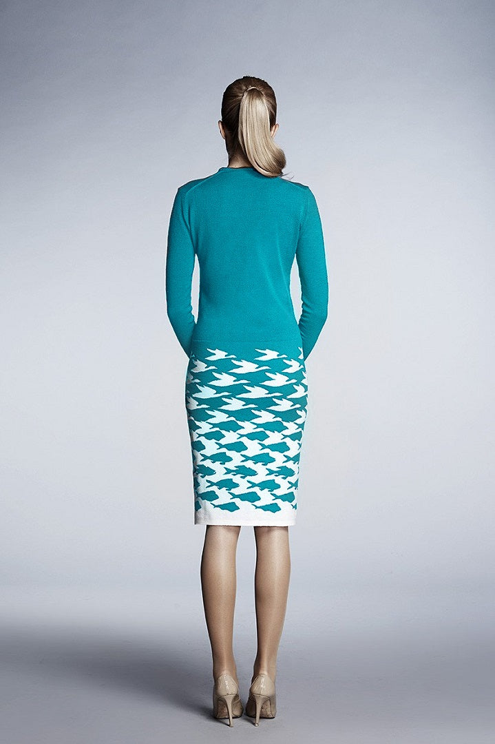 Turquoise illusion houndstooth knitted jacquard dress