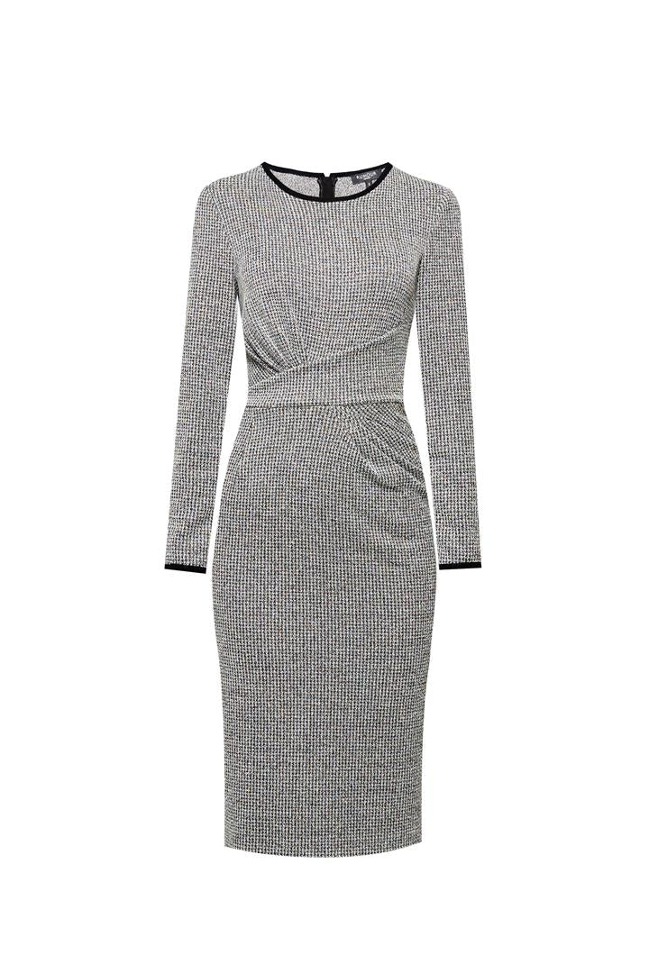 Check Jacquard Jersey Dress With Waistline Drapes