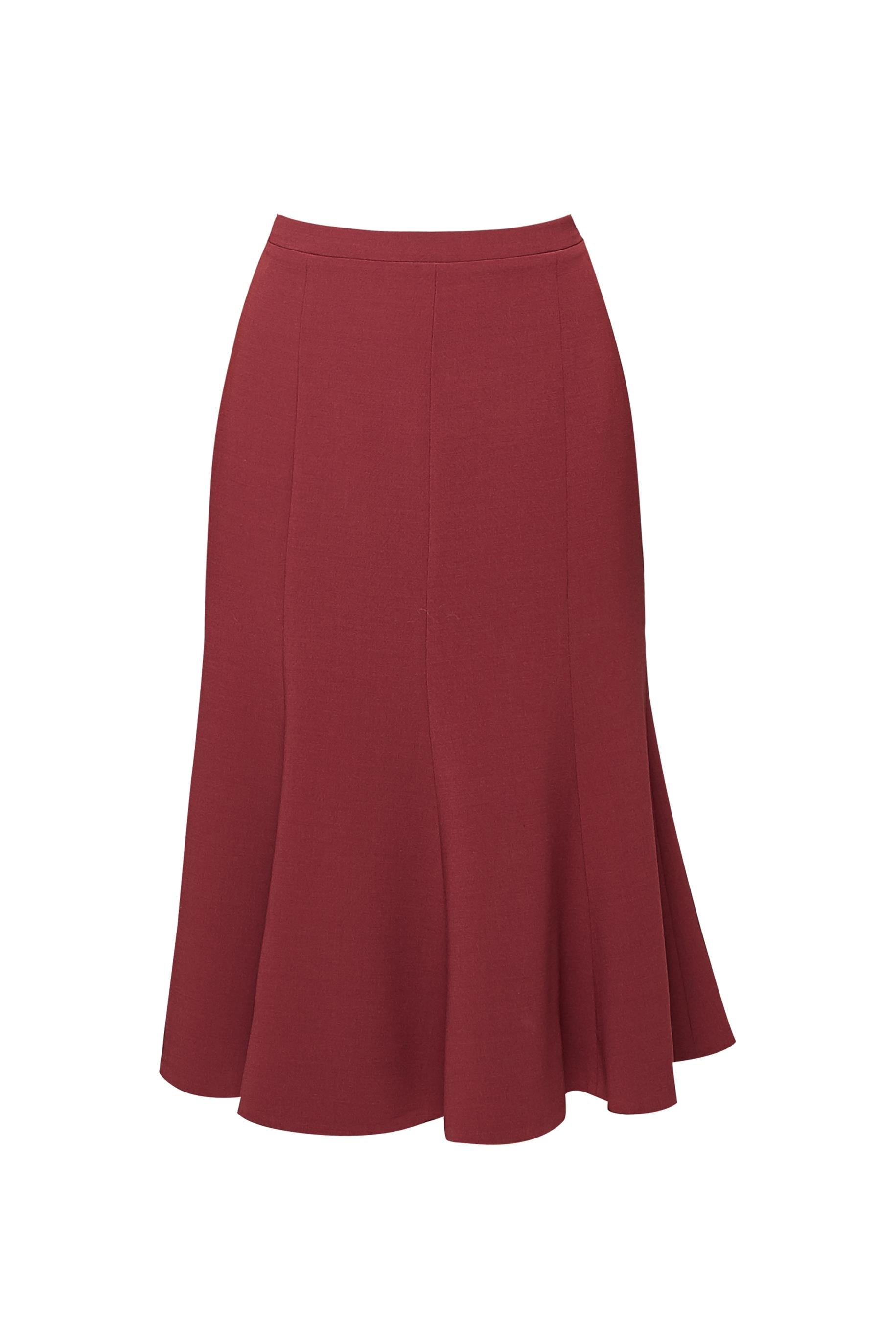 Wool midi skirt in berry