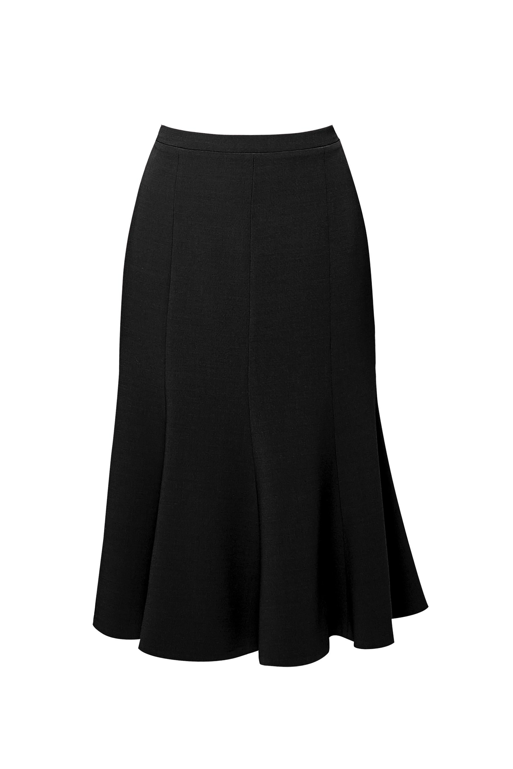 Wool midi skirt in black