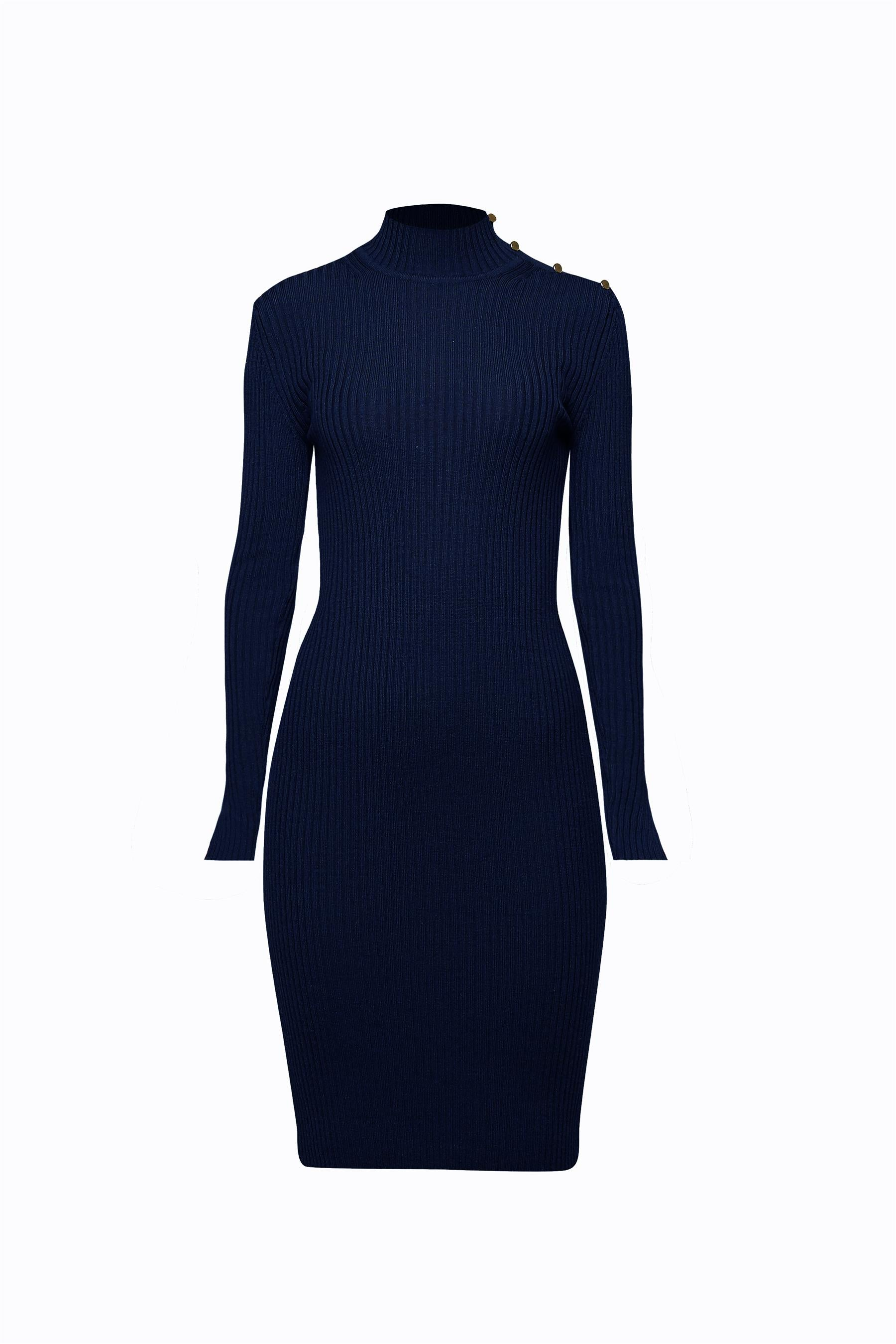 Ribbed wool midi dress in Midnight Blue