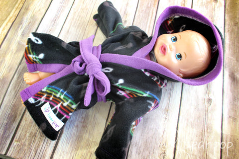Rainbow Music - Doll Sized Fleece Cozy Robe