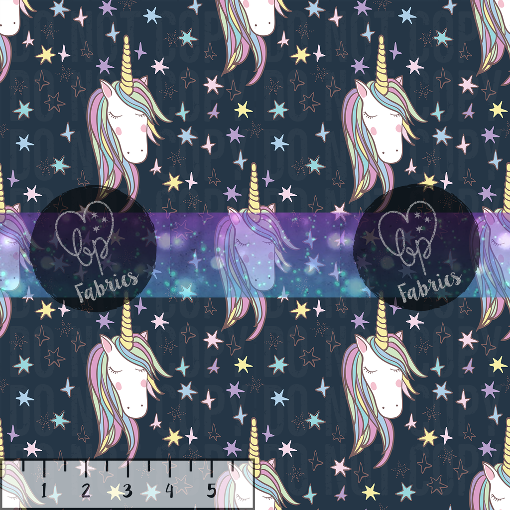 Beanpop Fabrics - Navy Unicorns - Fabric By the Yard