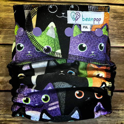 Glitter Cats - One Size - PUL - Serged - CV