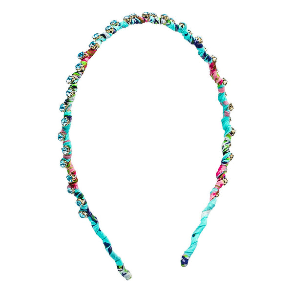 Swarovski-Detailed Printed Silk Headband