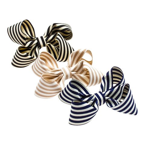 Striped-Bow Hair Elastic