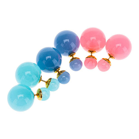 Color Double Pearl Earrings