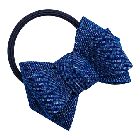 Denim Bow Hair Elastic