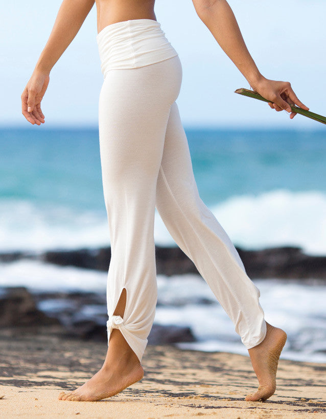 bamboo foldover white palazzo pants tie ankle