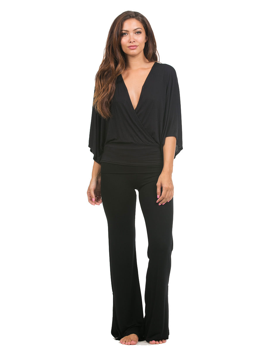 bamboo foldover black palazzo pants tie ankle
