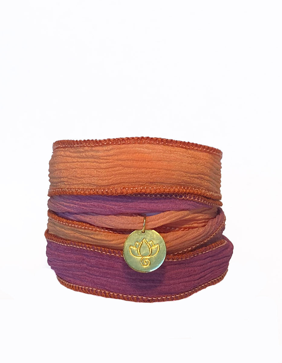 Lotus Silk Wrap Bracelet - Hibiscus Kiss