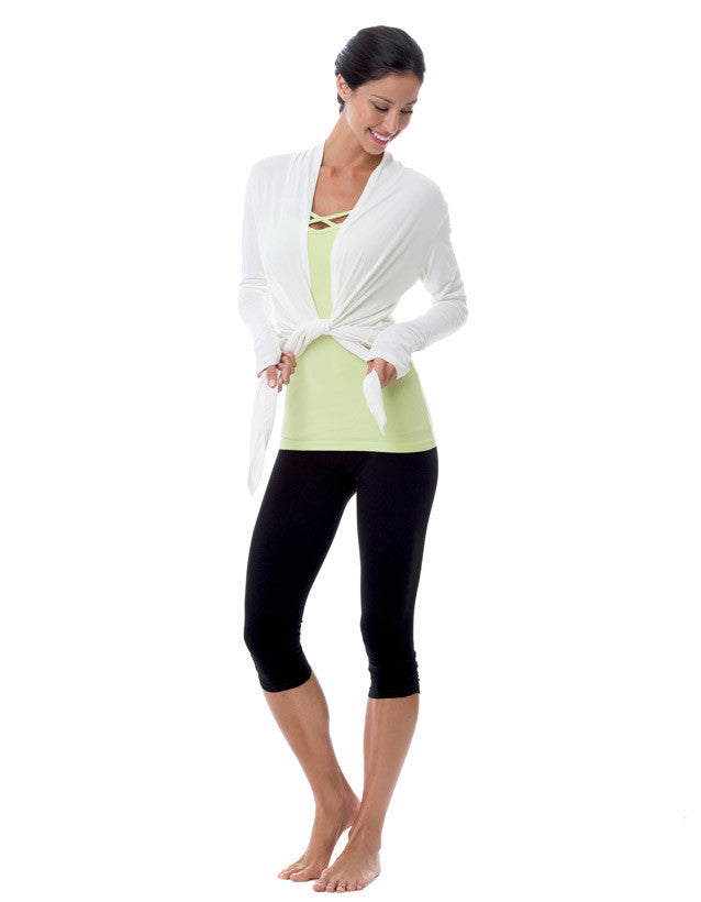 bamboo yoga clothing long sleeved wrap top white