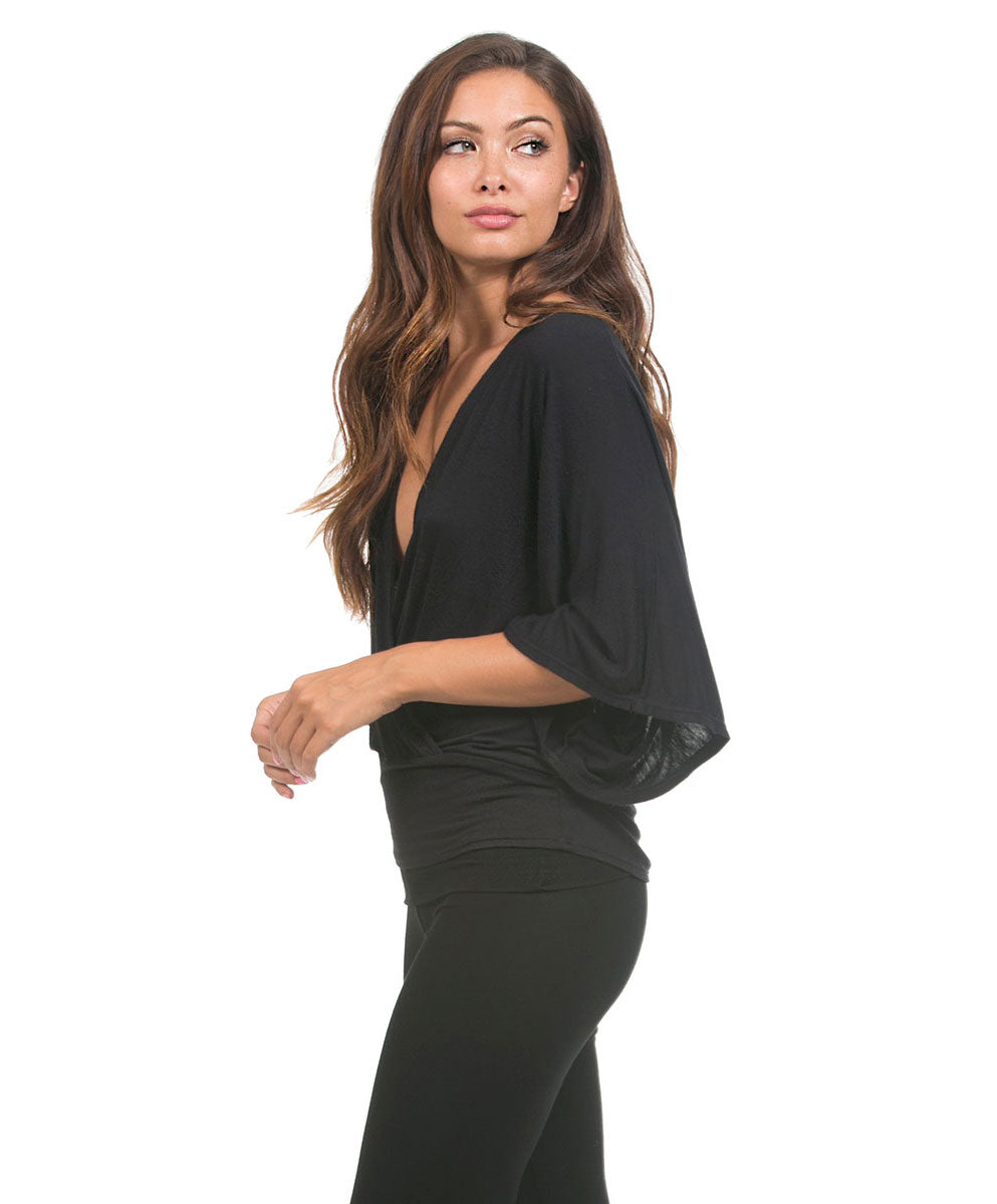 bamboo v neck drape shirt black