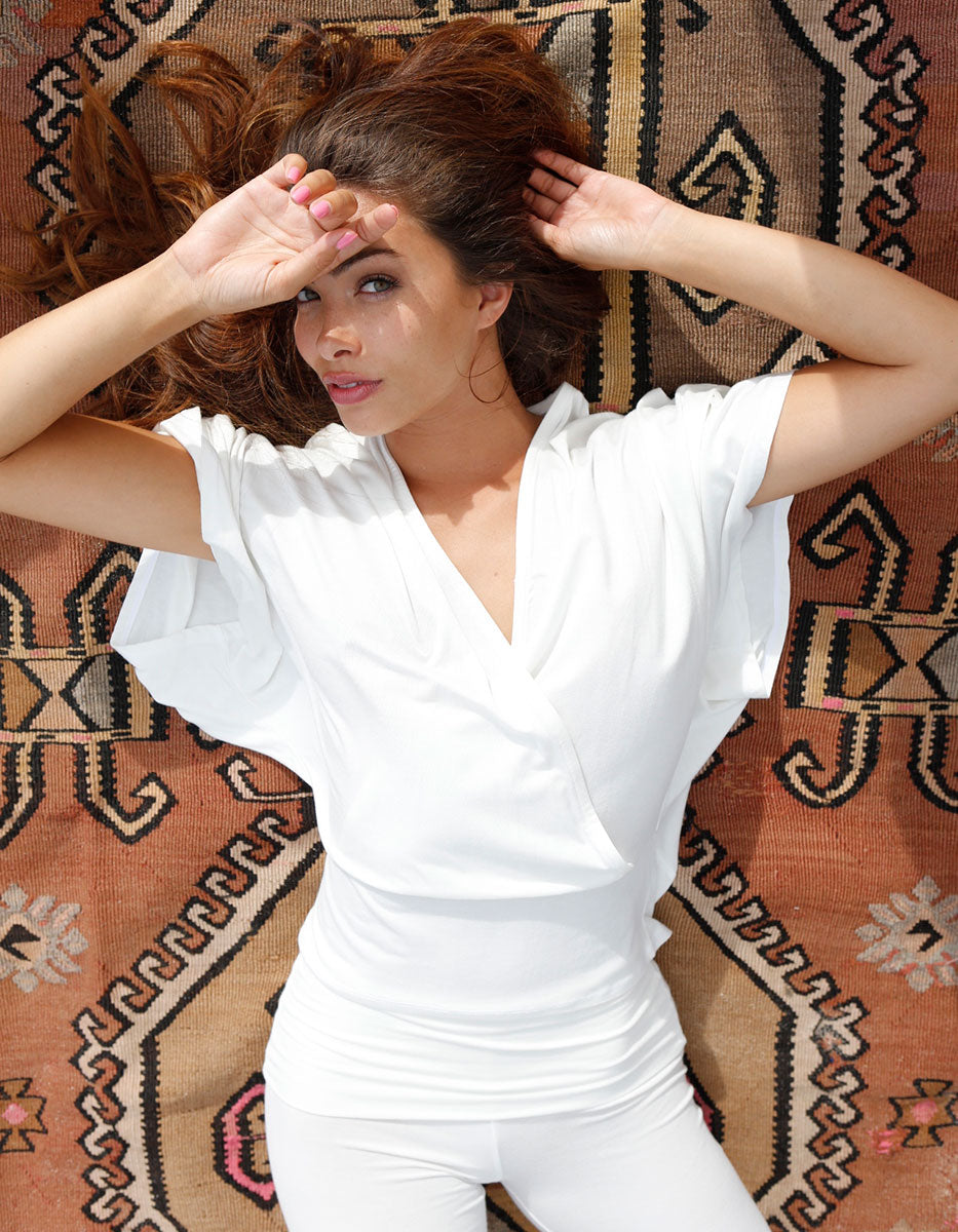 bamboo v neck drape shirt white