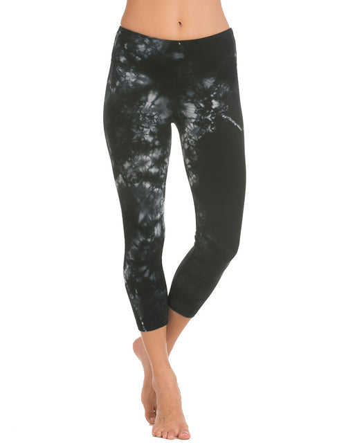 organic cotton yoga capri tie dye black active-bottoms